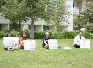 students participate in silent protest