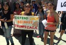 "Students protest at csun, one girl holds up a sign that says, ""defend daca because trump's caca"""