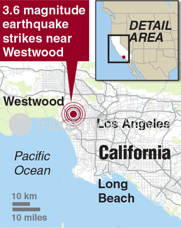 graphic shows a map of LA and pinpoints the area (westwood) where the earthquake struck