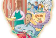 drawing with woman backing a pie a boy wrapping a present and old woman reading a story.