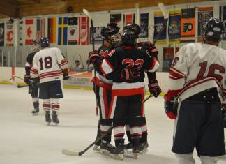 hockey players in black red and white huddled during game