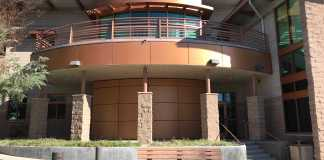 building with copper and stone colors