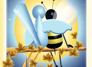 drawing of a bird and bee sitting on a branch
