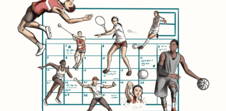 calendar with images of different sports surrounding it