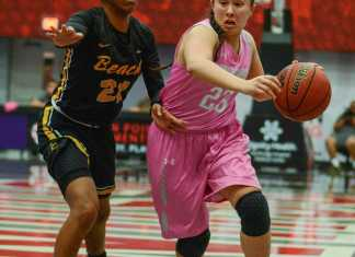 CSUN womens basketball player in pink protects ball from opponent