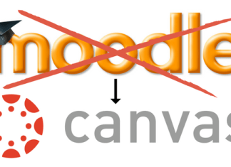 moodle crossed out with arrow pointing to Canvas