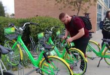 student renting out a limebike