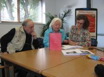 Planning the Launch and Readings, Barry, Dorothy and Sarah.