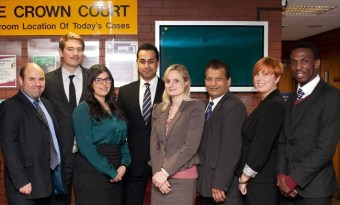With fellow lawyers at Leicester Crown Court