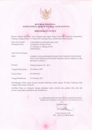 sertifikat Paten