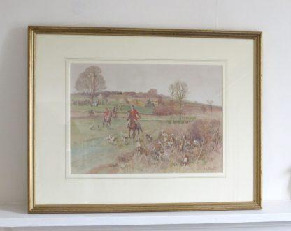 RH Buxton watercolour fox hunting painting
