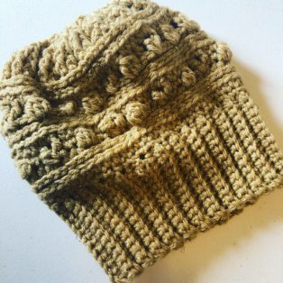 Textured Beanie with Ribbed Band