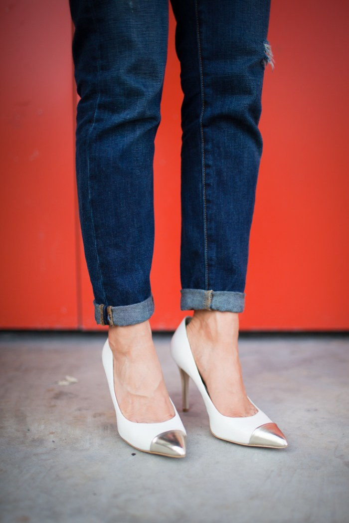 Metal Cap Heels, metal toe heels, boyfriend jeans
