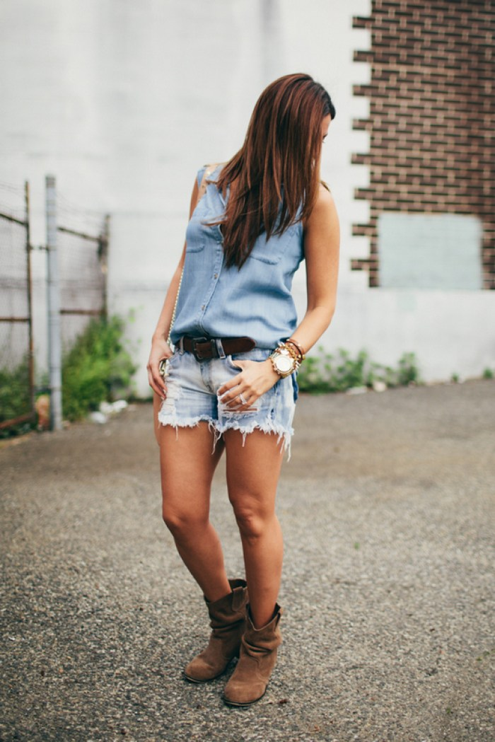 Denim on Denim, DIY distressed jean shorts, Jaime Cittadino
