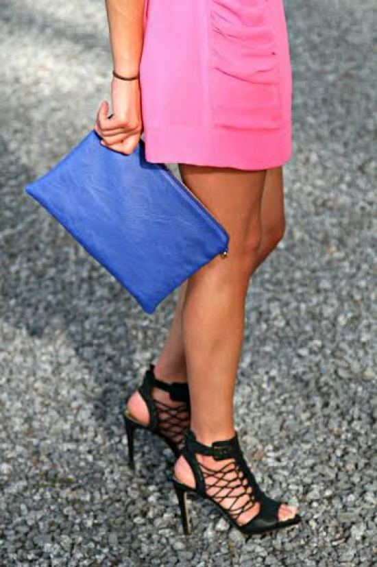 Neon Skirt and Clutch