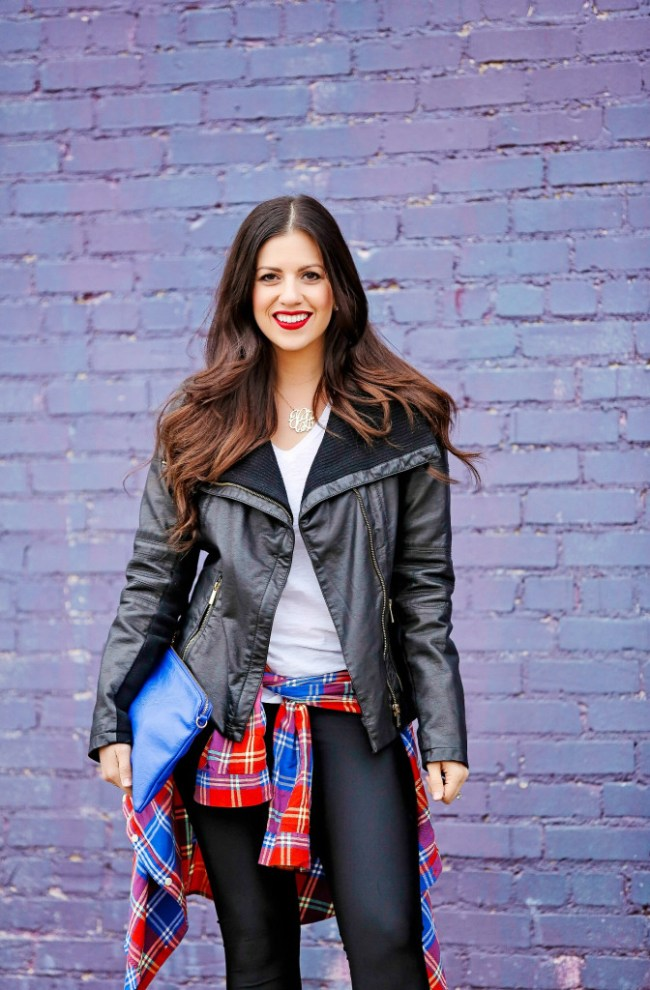 Leather Jacket and Plaid