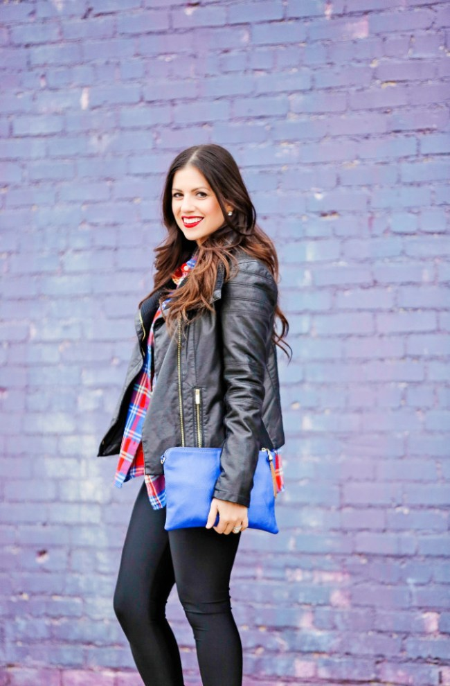 Black leather moto jacket with plaid shirt