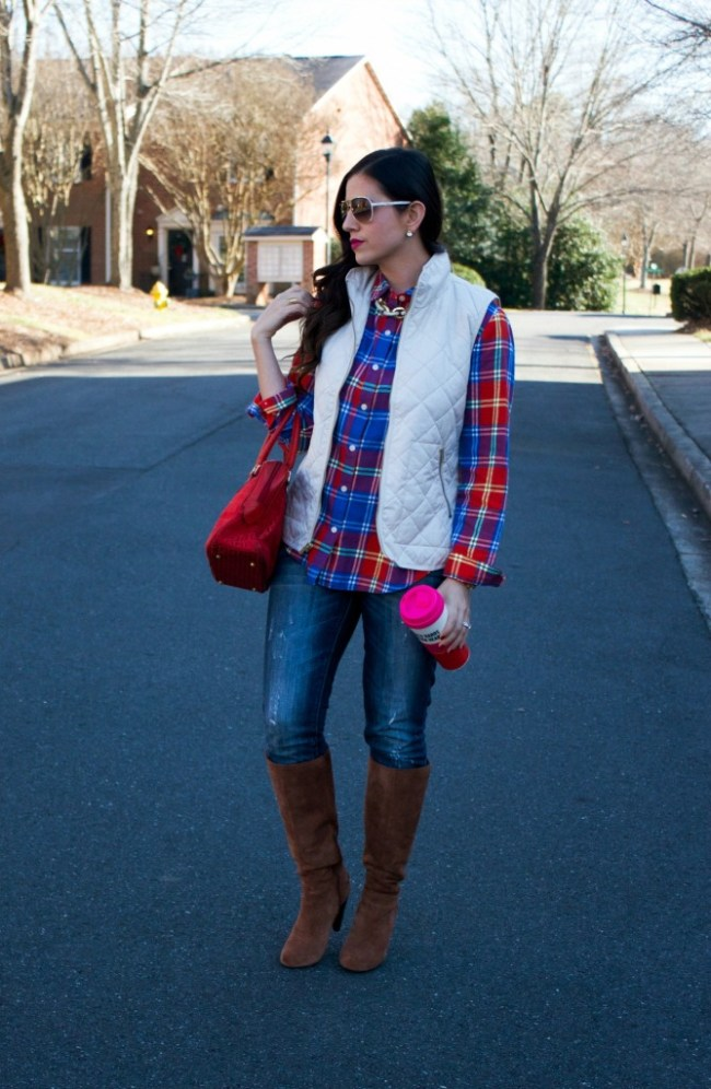 plaid shirt with bubble vest