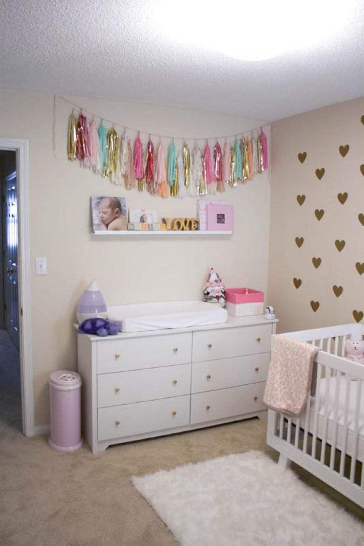 mint, gold, peach baby girl nursery