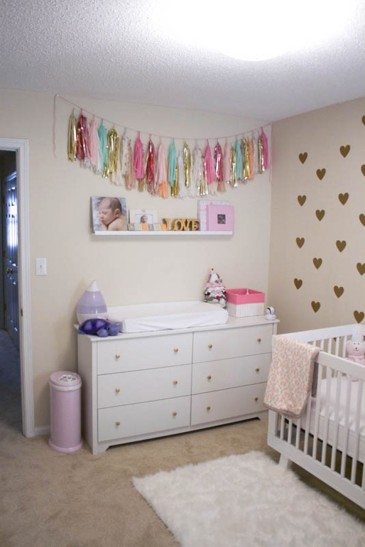 mint, gold, peach baby girl nursery