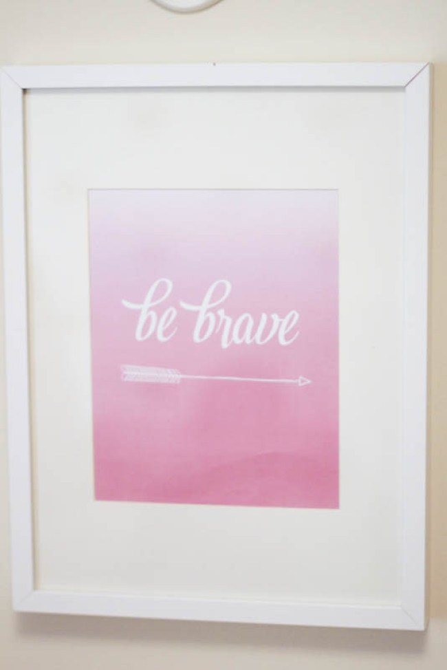 Project Nursery Be Brave sign