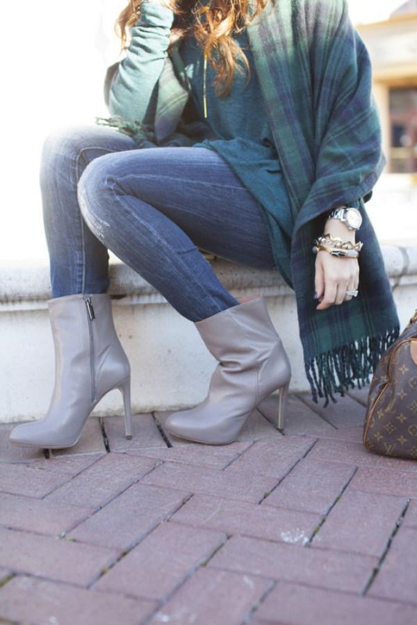 gray stiletto ankle bootie