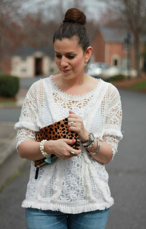 boho fringed top worn by fashion blogger Jaime Cittadino of Sunflowers and Stilettos