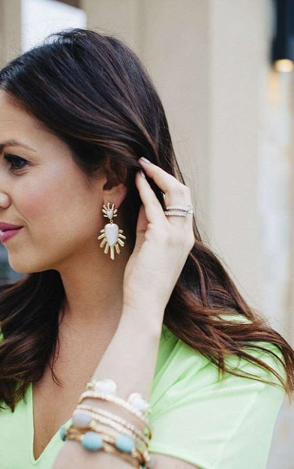 Kendra Scott Sterling Spike Stone Drop Earrings