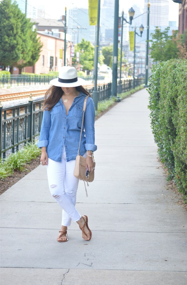 Chambray shirt with white jeans