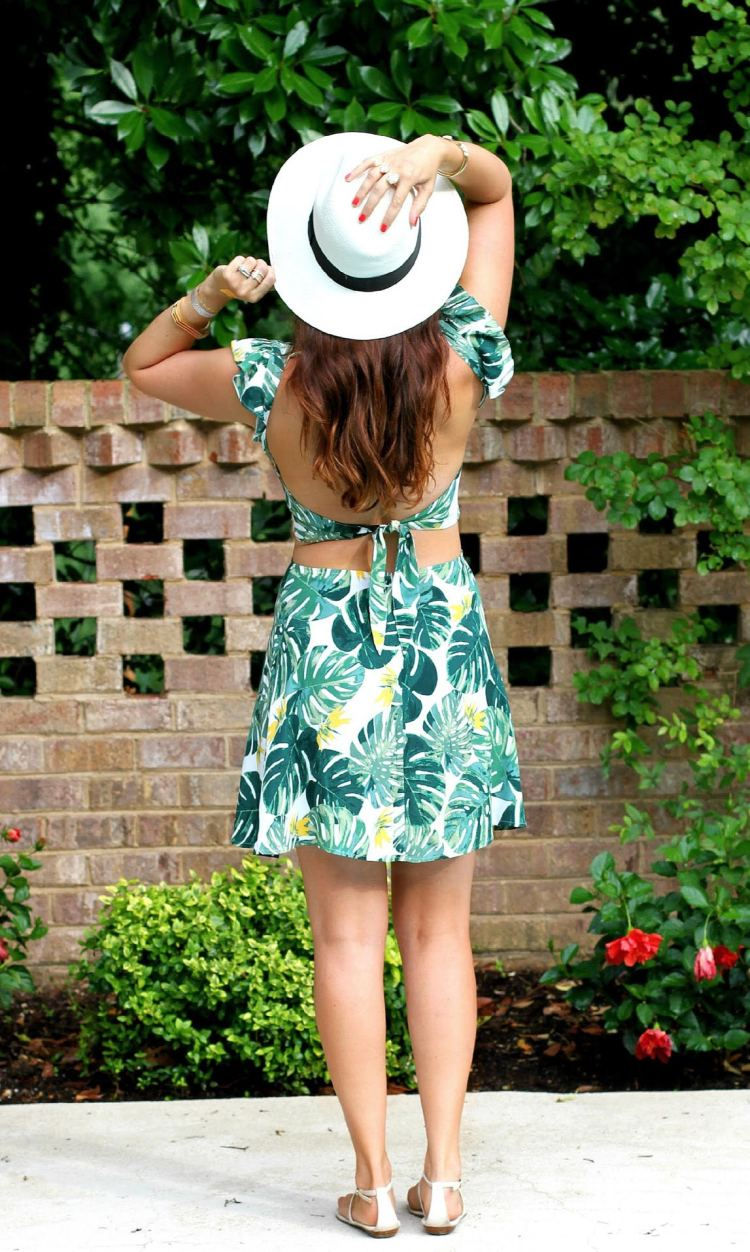 For Love and Lemons for UO tropical leaf dress