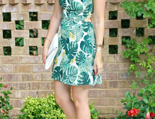 leaf printed dress