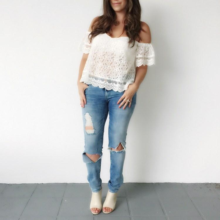 White Off Shoulder Crochet Top