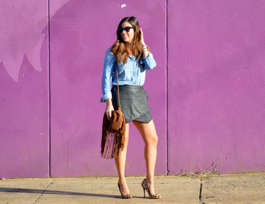 denim top, leather skirt, sunflowers and stilettos blog