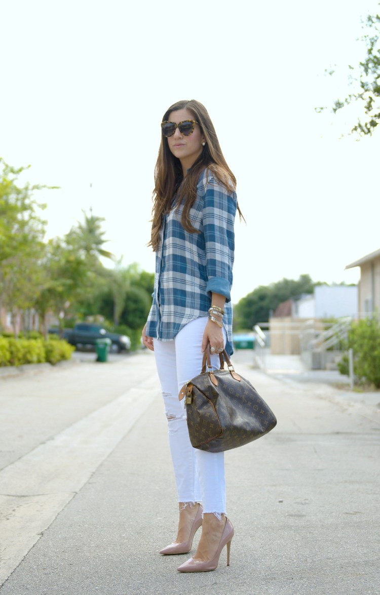 blue plaid with white jeans, white after labor day, jaime cittadino, sunflowers and stilettos