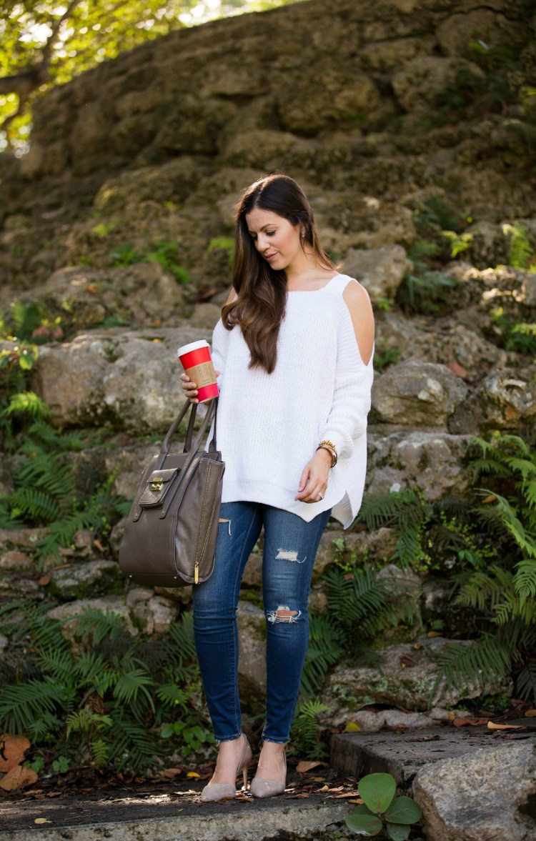 off the shoulder sweater, sheinside sweater