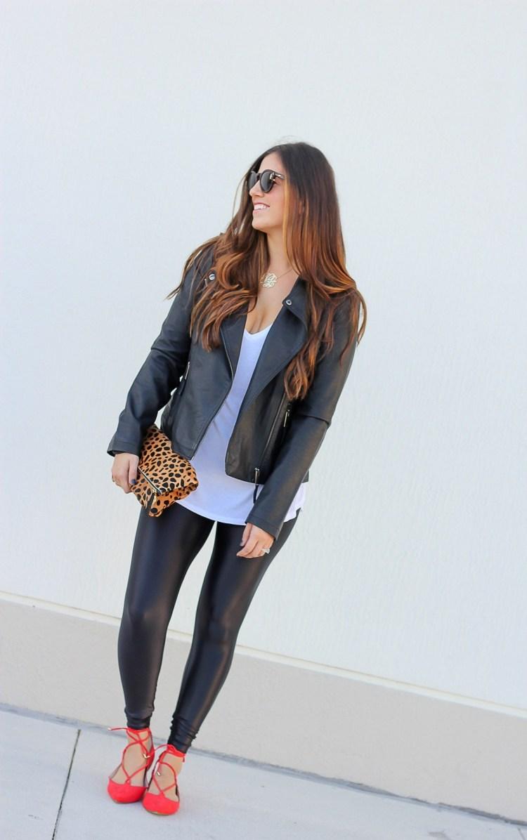 koral activewear leggings, moto jacket, jaime cittadino