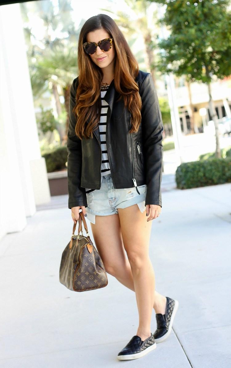 moto jacket, black and white, fall style