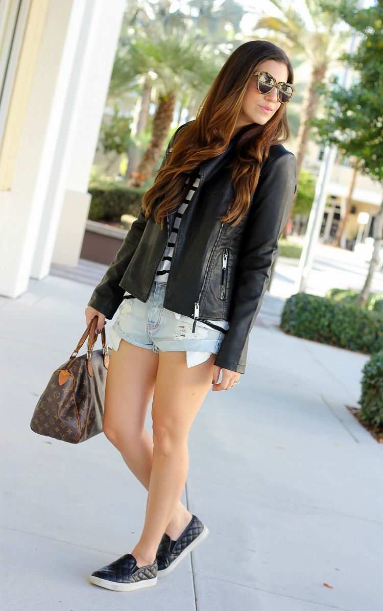 Asos Moto Jacket, One Teaspoon distressed shorts, Sunflowers and Stilettos