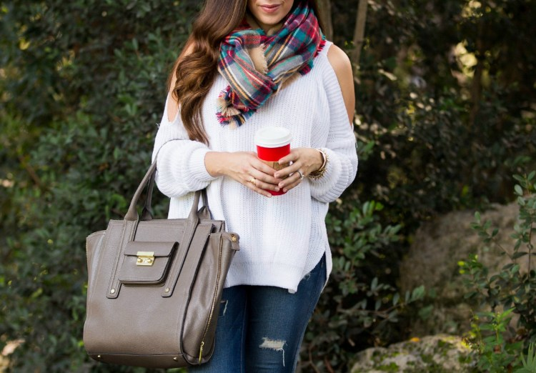 Target plaid scarf, white off shoulder SheInside sweater, American Eagle distressed jeans