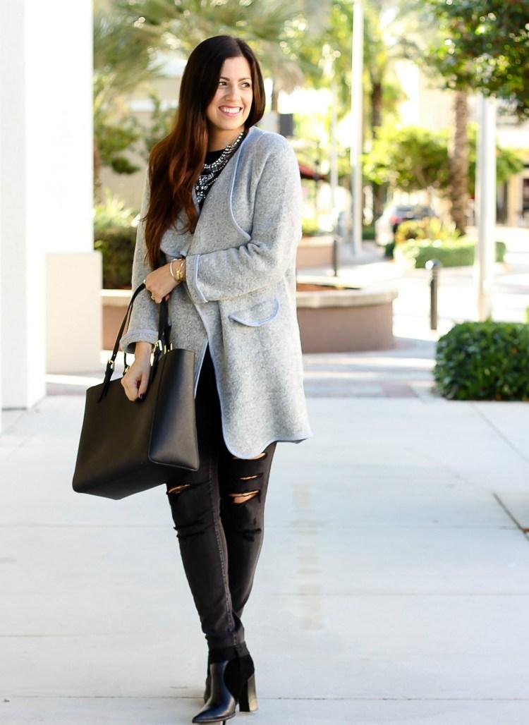 oversized sweater coat, grey sweater coat, She Inside grey jacket