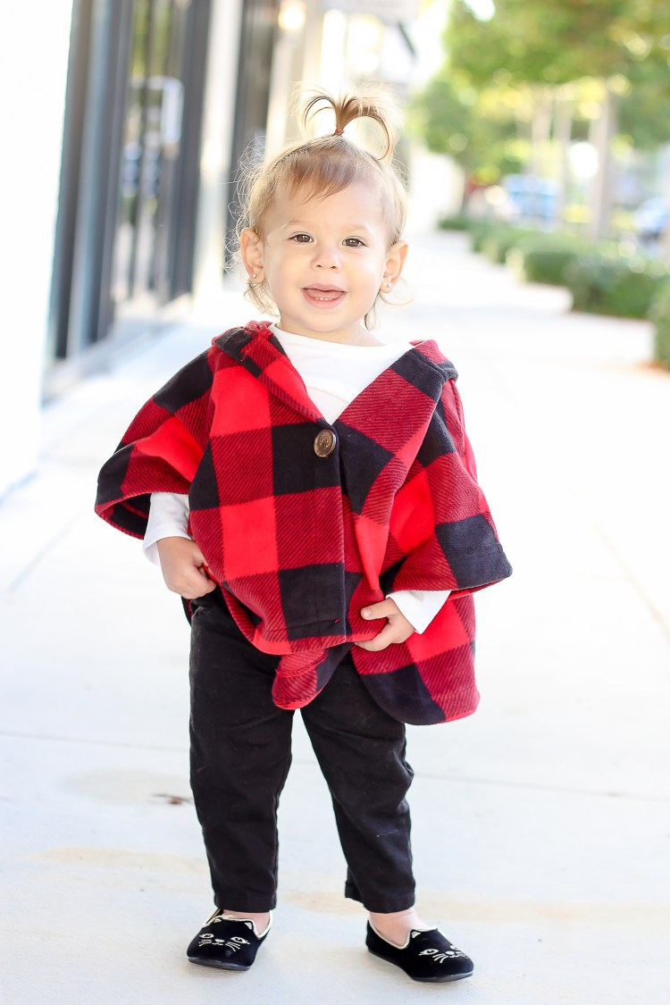 baby girl buffalo check poncho cape