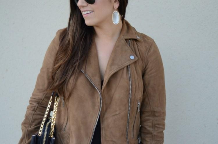 Kendra Scott Danielle earrings, brown leather biker jacket