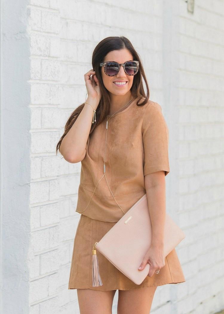 matching skirt set, suede skirt set