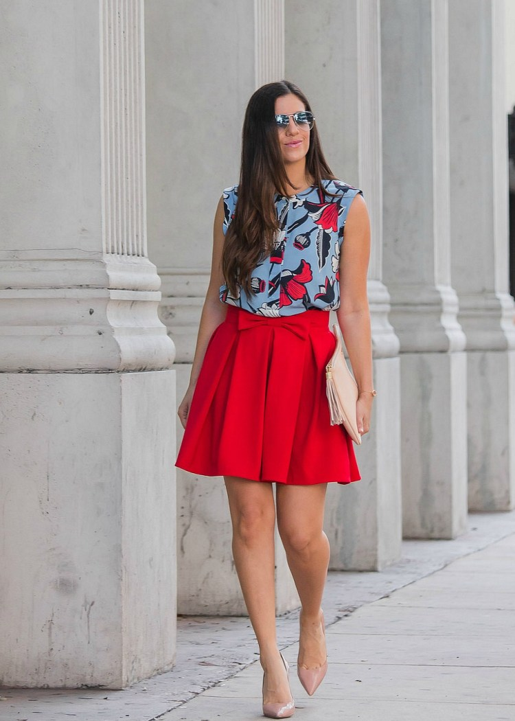 chicwish skirt, red bow skirt