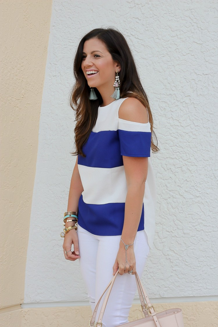 blue white striped top, bauble bar tassel earrings, Jaime Cittadino, Florida blogger