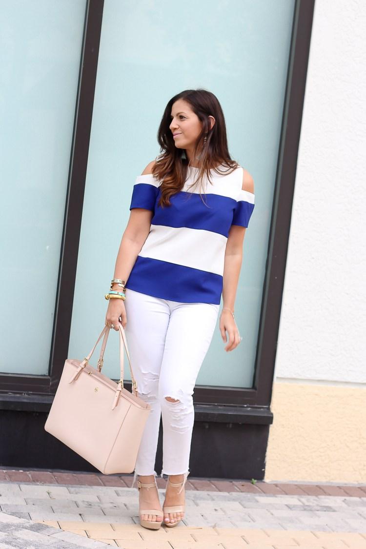 blue white striped top, cold shoulder short sleeve top