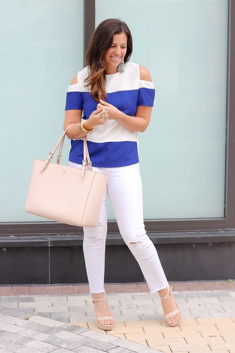J brand distressed white jeans, Jaime Cittadino, Tory Burch York bag