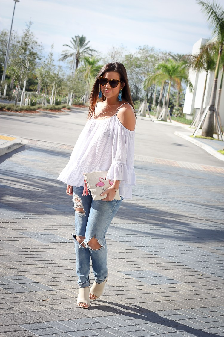 white off shoulder top, cute white cold shoulder top