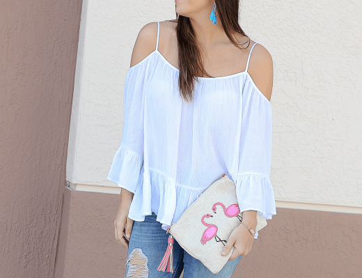 flamingo clutch, Francescas flamingo clutch, best white off shoulder top