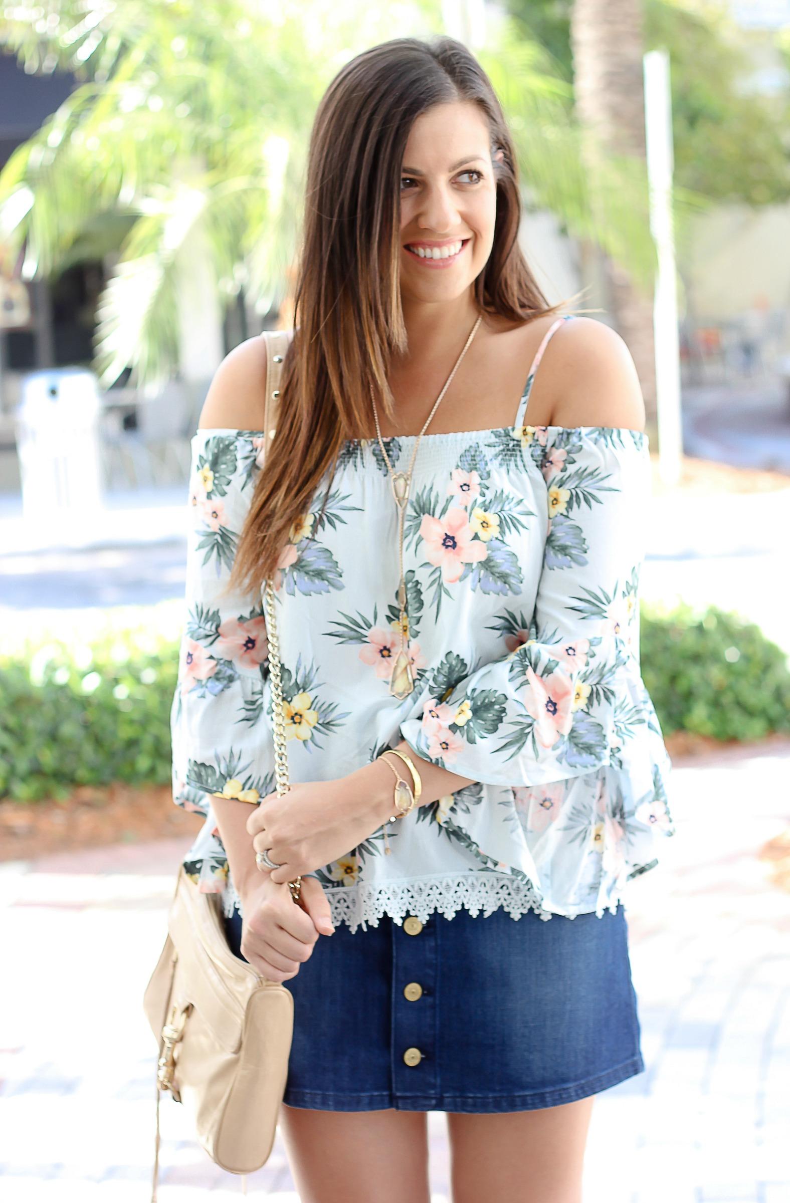 70bdb6303 Floral Off Shoulder Top + Denim Skirt - Sunflowers and Stilettos